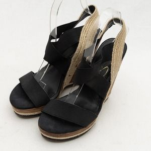 Jessica Simpson Black Stacked Wedge Size 7